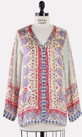 💕Johnny Was Moroccan Tile Silk Button Down GREAT scarf Caftan Blouse S $220 💕