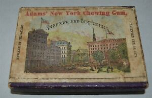 1871 patent Adams Chewing Gum box Lithographed Factory