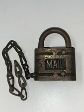 OLD VINTAGE ANTIQUE ORNATE RFD MAIL BRASS PADLOCK LOCK & CHAIN , NO KEY