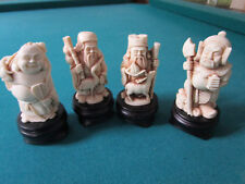 """ARNART IMPORTS 4 GODS FIGURINES PAPERWEIGHTS RESIN ON PEDESTAL 4"""" TALL"""