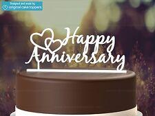 """""""Happy Anniversary"""" - White - Wedding Anniversary - Original Cake Topper"""