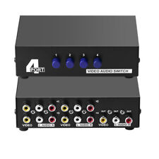 AV Switch Box Composite Selector 4 Port RCA Audio Video 4 In 1 Out To TV