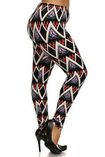 Plus Size Leggings XL-2X Polyester Spandex ALWAYS Multi-Color Tribal Print