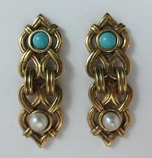 Back Earrings Faux Turquoise & Pearl Heritage Museum Replicas Gold Tone Post