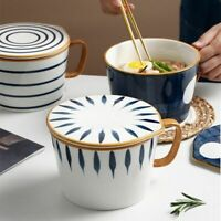 Instant Noodle Bowl Ceramic With Handle Lid Home Ramen Bowl Salad Japanese-Style
