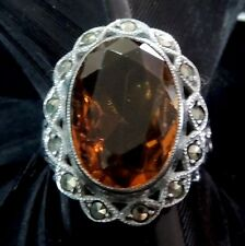 Yellow Stone Marcasite Ring Size 5.25 Authentic Estate Sterling Silver Art Deco