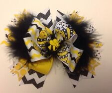 Boutique Hair Bow Big Bumble Bee Yellow & Black With Feathers Stacked Ships FREE