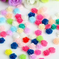 50pcs Resin Flower Beads Rose DIY Cabochons Embellishment for Craft Scrapbooking