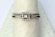 White Gold Princess Round Cut Halo Set Diamonds Bridal Wedding Band Ring Set
