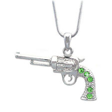 3D Western Cowboy Cowgirl Lime Green Revolver Pistol Gun Pendant Necklace