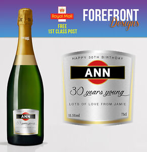 Personalised Prosecco Asti bottle label, Perfect Birthday/Wedding/Graduation