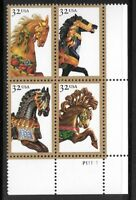 Sc # 2976-2979 (2979a) ~ Plate # Block ~ 32 cent Carousel Horses Issue (ci19)