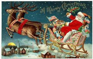 Christmas Silk Santa Drives~Sled Over Town ~USA Flag Patriotic Postcard~h541