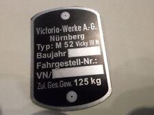 Typenschild victoria ID-plate schild Vicky M52 M 52 Moped Mofa Leichtkraftrad s4