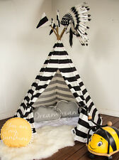 Kids Teepee Black and White - POLES INCLUDED cubby tent playhouse tipi