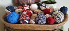 30 RAG BALLS PRIMITIVE COUNTRY RUSTIC AMERICANA FARMHOUSE BOWL FILLERS HOMEMADE