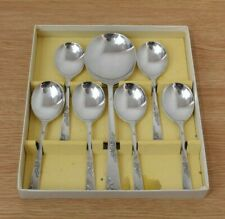 Boxed Set of Vintage Smith Seymour Soup Spoons & Serving Spoon 6