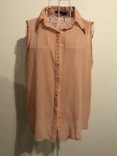 ZANZEA COLLECTION Sz M Womens Pink Sleeveless Button Down Top Metallic Detail