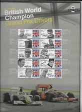 Qeii 2010 Commem sheet Cs9 British Grand Prix world Champions 10 stamps & labels