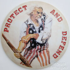 Protect and Defend Uncle Sam TIN SIGN vintage patriotic americana bar wall decor
