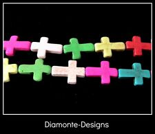 1 Strand Of Dyed Turquoise Howlite Cross Beads Craft Beading Approx 14pcs B26