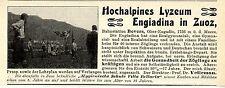 Le prof. Dr. vellemann Engiadina en zous hochalpines lycée la publicité de 1909