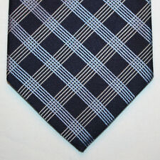 NEW Nautica Silk Neck Tie Dark Blue Navy with Light Blue and White Plaids 855