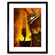 Painting Industrial Scene Foundry Iron Work Framed Wall Art Print