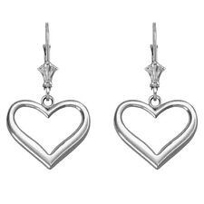 Polished 14k White Gold Open Love Heart Drop/Dangle Leverback Earrings