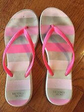 Womens Flip Flops Well Worn Sandals Shoes Size M-L 7-9 Distressed VS Pink Stripe
