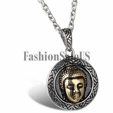 "Men's Vintage Stainless Steel Bodhi Buddha Lucky Pendant Necklace With 22"" Chain"