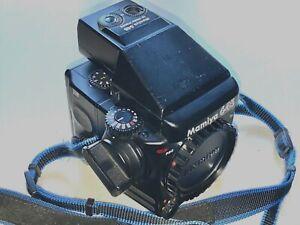 Mamiya 645 Pro body + AE prism finder, 120 filmback, strap, body cap, rear plate