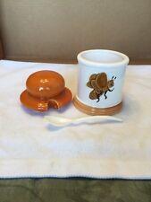 Vintage Ambee Orange/White Honey Canister