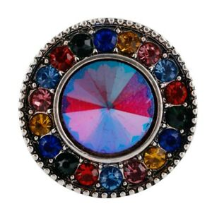 Iridescent Blue Pink Yellow 20mm Snap Button Charm For Ginger Snaps Jewelry