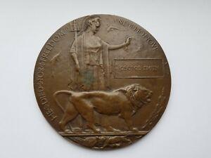 WW1 MEMORIAL DEATH PLAQUE,GEORGE SMITH,GREAT CONDITION