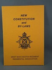 New Constitution and Bylaws West Nova Scotia Regiment 1985 Booklet