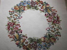 Huge Completed Vintage 1930's Hiawatha Fruit Floral Wreath needlepoint canvas