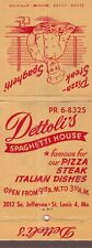 VINTAGE GIANT FEATURE MATCHBOOK COVER. DETTOLI'S SPAGHETTI HOUSE. ST LOUIS, MO.