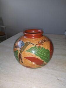 Rare Vintage Jose Reyes Martinez Art Pottery Vase San Juan De Oriente Nicaragua