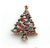 vintage rouge & vert faux-diamants Sapin de Noël en forme de broche cadeau BR131