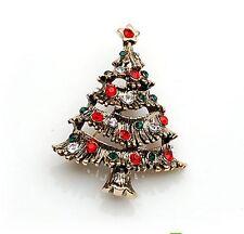 Vintage Red & Green Rhinestones Christmas Tree Shaped Brooch Pin Gift BR131