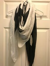 NWT Peace Love World Half Full Scarf Black And White