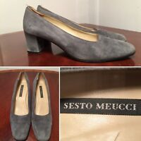 SESTO MEUCCI Size 8 Gray Suede Chunky Heels Pumps Made in Italy