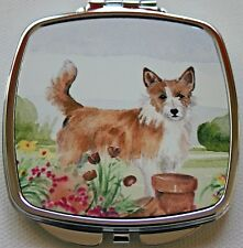 PORTUGUESE PODENGO DOG HANDBAG COMPACT MIRROR WATERCOLOUR PRINT SANDRA COEN ART