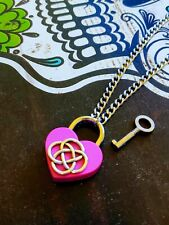 Celtic Knot Hot Pink Heart Lock Necklace Day Collar Stainless Steel Infinity Sub