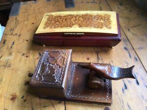 Vintage Musical Cigarette Box & Wooden Novelty Cigarette Dispenser