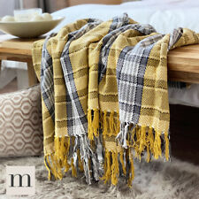 Luxury Cotton Ochre Mustard Yellow / Grey Tartan Check Sofa / Bed Throw Blanket