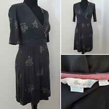 Ladies BODEN Grey Mini Dress Sz 10 Floral Tunic Top Casual Faux Wrap Front Boho