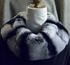 Real Genuine Rex Rabbit Dyed  Chinchilla Fur Loop Collar new made in usa
