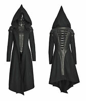Punk Rave Women Hooded Coat Black Goth Cosplay Cyber Steampunk Witch Long Jacket